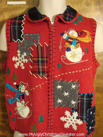 Crafty Red Ugly Christmas Sweater Vest with Plaid Patchwork