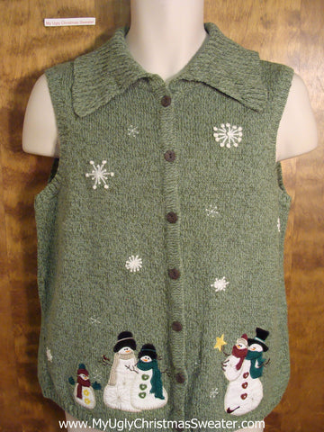 Ugly Christmas Sweater Vest wiht Snowmen