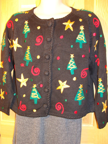 Tacky Ugly Christmas Sweater 80s Festive Gem with Padded Shoulders (f460)