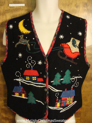 Ugly Christmas Holiday Vest with Sleigh and Reindeer