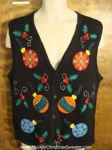 Ugly Christmas Sweater Vest with Colorful Ornaments