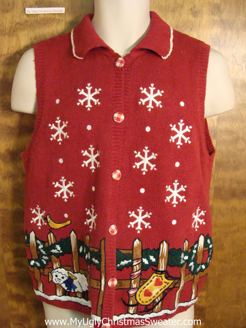 Cute Sheep and Sled Christmas Sweater Vest