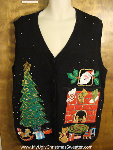 Crazy Cat Lady Gem Ugly Christmas Sweater Vest