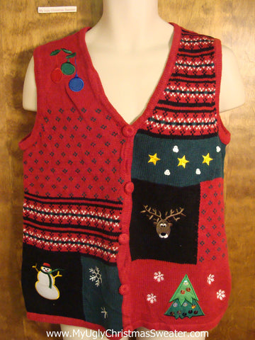 Funny Reindeer Ugly Red Christmas Sweater Vest