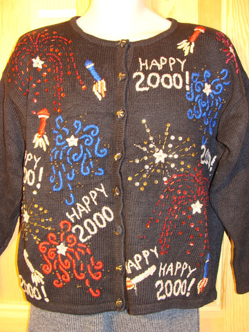 "Tacky Ugly Christmas Sweater ""Happy New Year 2000"" (f461)"