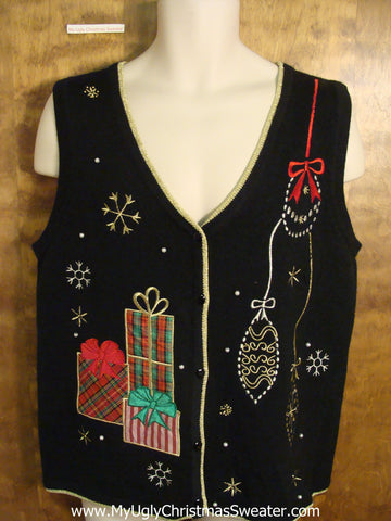 Ugly Christmas Sweater Vest with Gifts and Ornaments