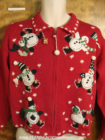 Ice Skating Snowmen Ugly Christmas Sweater