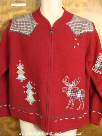 Plaid Moose Reindeer Fun Ugly Christmas Sweater
