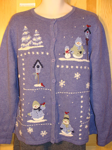 Tacky Ugly Christmas Sweater with a Blue Winter Wonderland (f462)