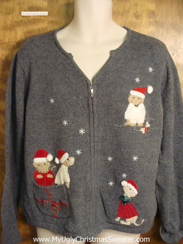 Dogs and Snow Funny Ugly Christmas Sweater