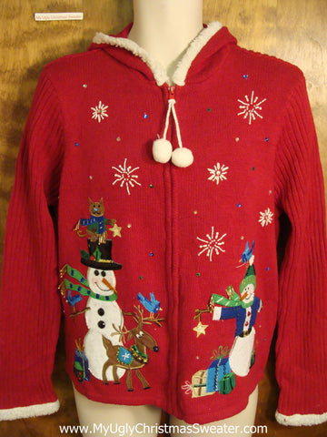 Snowman Hoody Ugly Christmas Sweater