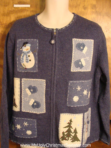 Blue Ugly Christmas Sweater with Snowmen