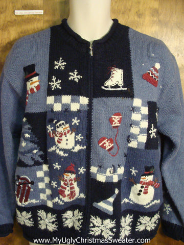 Blue Checkerboard and Snowflakes Ugly Christmas Sweater
