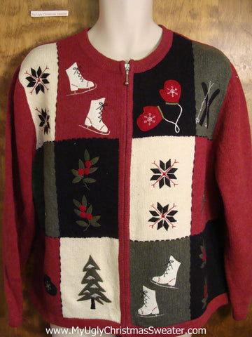 Ugly Christmas Sweater with Ice Skates