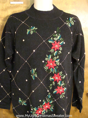 Horrible Black Ugly Christmas Sweater with Poinsettias