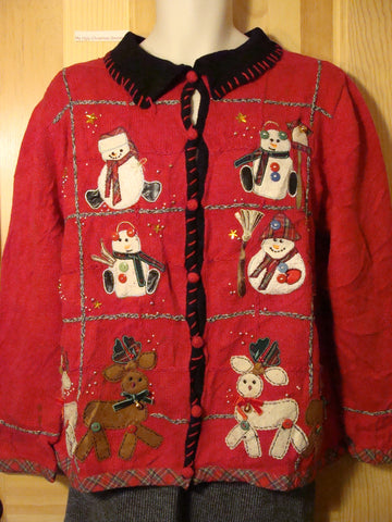 Tacky Red Ugly Christmas Sweater with Snowmen and Reindeer (f463)