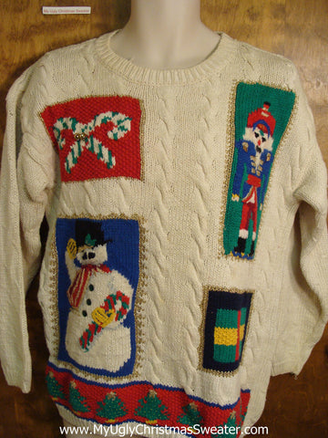 Ugly Christmas Sweater with Nutcracker and Snowman
