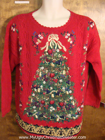 Red 80s Huge Tree Ugly Christmas Sweater