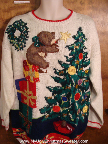 Unique 80s Bear Putting Star on Tree Ugly Christmas Sweater