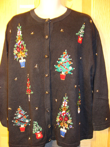 Tacky Ugly Christmas Sweater with Bling Trees XXXL (f464)