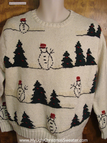 Stick Drawing Snowmen Ugly Christmas Sweater