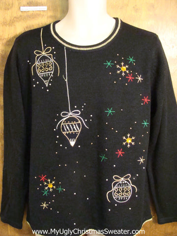 Ornaments and Colorful Snow Ugly Christmas Sweater