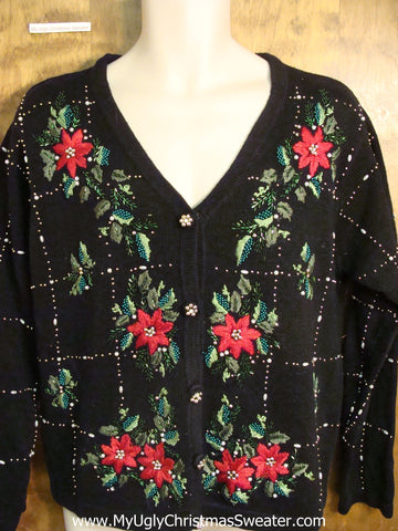 Cheap Poinsettia Themed Ugly Christmas Sweater
