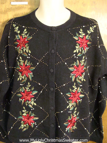 Cheap Ugly Christmas Sweater with Poinsettias