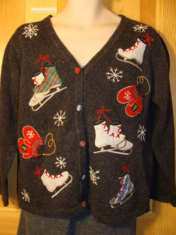 Tacky Ugly Christmas Sweater with 2sided Ice Skate Decorations (f465)