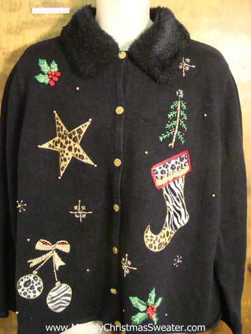 Horrible Animal Print Ugly Christmas Sweater with Furry Collar