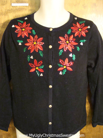 Black Cheap Ugly Christmas Sweater with Poinsettias