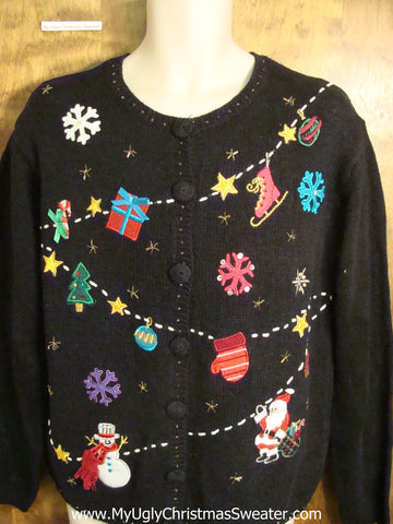 Santas Garland 2sided Ugly Christmas Sweater