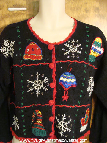 Fun Hats and Snowflakes Ugly Christmas Sweater