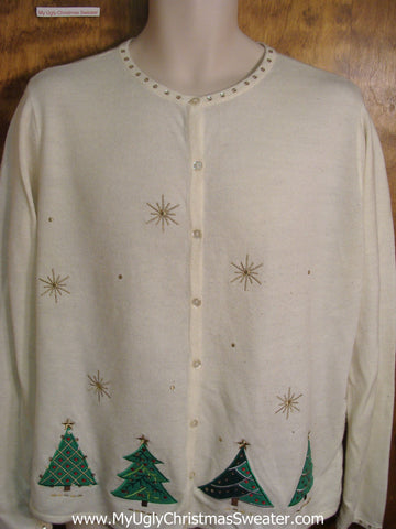 Cheap Ivory Ugly Christmas Sweater with Trees