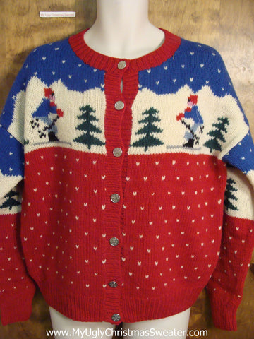Vintage Skiers Wool Ugly Christmas Sweater