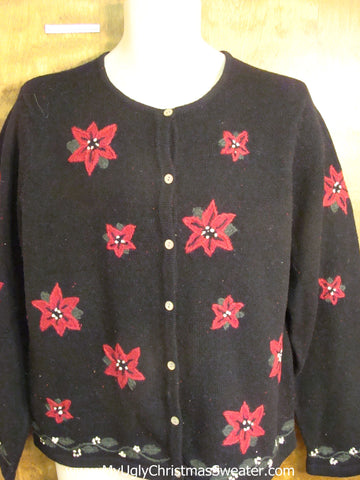 Cheap Red Poinsettia Themed Ugly Christmas Sweater