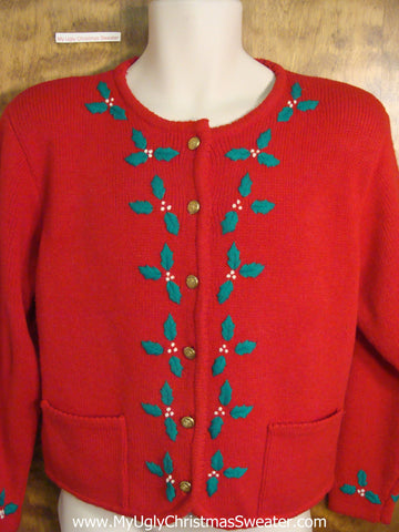 Cheap Red Ugly Christmas Sweater with Ivy