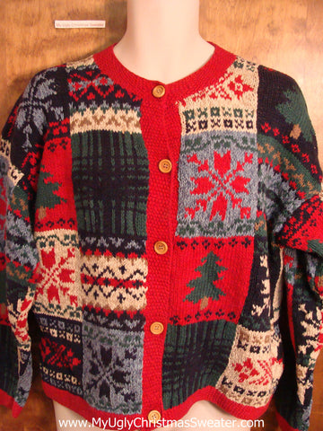 Vintage Style Patchwork 2sided Ugly Christmas Sweater