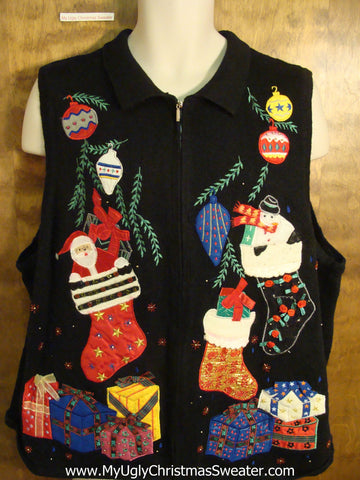 Stockings and Gifts Ugly Christmas Sweater Vest