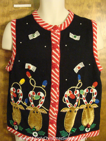 Funny Reindeer with Candycane Antlers Ugly Christmas Sweater Vest