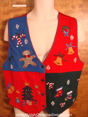 Ugly Christmas Holiday Vest with Bells and Candycanes