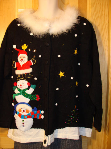 Tacky Ugly Christmas Sweater with a 3D Furry Collar and Stacking Snowmen with Santa XXL + (f468)