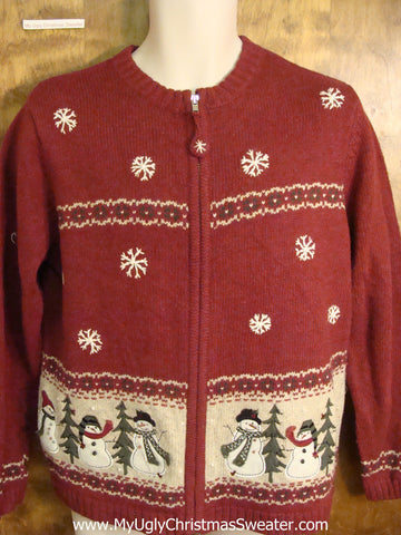 Corny Snowman Ugly Christmas Sweater