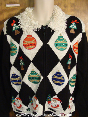 Fancy Fluffy Collar and Ornaments Ugly Christmas Sweater
