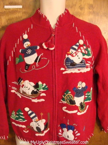 Winter Sports Snowmen Ugly Christmas Sweater