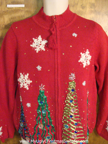Red Ugly Christmas Sweater with Bling Trees