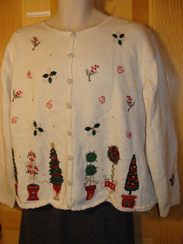 Tacky Ugly Christmas Sweater with Festive Fancy Trees (f469)