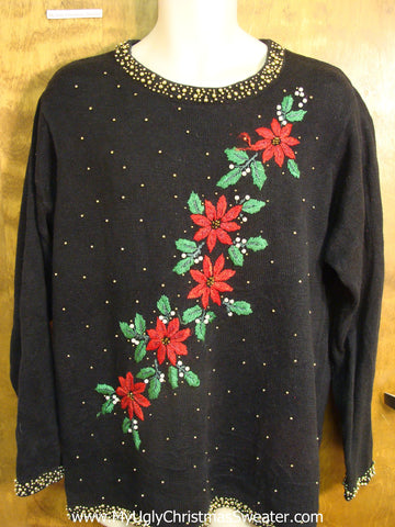 Cheap Poinsettias Ugly Christmas Sweater