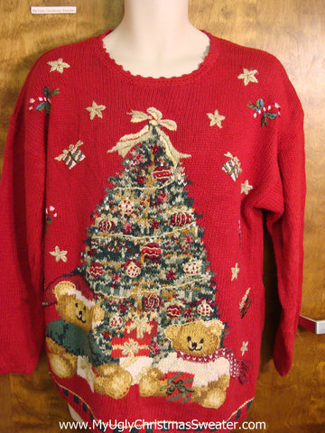 Tacky Red Ugly Christmas Sweater with Bears and Tree