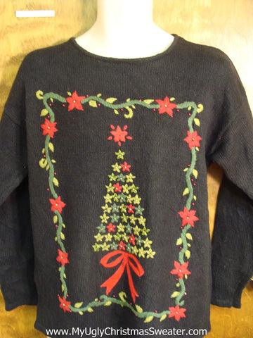 Star Tree and Poinsettias Ugly Christmas Sweater